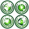 Зеленые глобусы с венком | Векторный клипарт