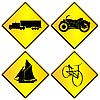 Metalowe znaki transportu ustawić | Stock Vector Graphics