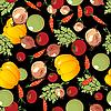 Gemüse-Muster auf Schwarz
