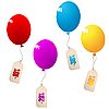 Luftballons mit Preisschilden
