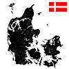 Flagge und Landkarte von Dänemark