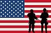 Вооруженные солдаты и флаг США | Векторный клипарт