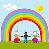 Kinder und Regenbogen