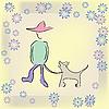Boy Spaziergang mit dem Hund
