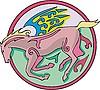 geflügeltes Pferd rundes Design