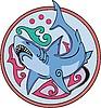 rundes Design mit Hai