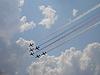 ID 3369733 | Red Arrows on Hawk T1 with smoke trace | Foto stockowe wysokiej rozdzielczości | KLIPARTO