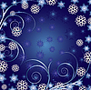 Blue christmas background with curls and snowflakes
