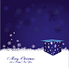 blue Christmas card mit gift box