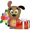 Welpe mit Geschenken