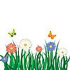 꽃, 잔디와 나비 | Stock Vector Graphics