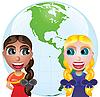 Freunde-Mädchen und Weltkarte