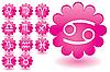 rosige Glas-Blumen als Tierkreis-Icons