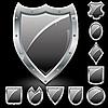 Schwarze Schilde-Icons | Stock Vektrografik