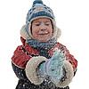 Der Junge und Schneeflocken | Stock Foto