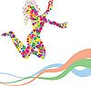 Sylwetka taniec dziewczyna kwiat | Stock Vector Graphics