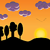 Vogelschwarm bei Sonnenuntergang | Stock Vektrografik