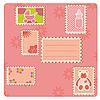 ID 3018624 | Rosige Karte mit Briefmarken | Illustration mit hoher Auflösung | CLIPARTO