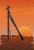 ID 3018636 | Stromleitungen bei Sonnenuntergang | Illustration mit hoher Auflösung | CLIPARTO