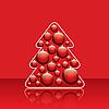Choinka z czerwonymi kulkami | Stock Illustration