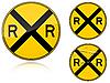 Векторный клипарт: предупреждение о переезде - дорожный знак