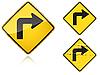 Zestaw warianty Prawy Ostry skręcić w znak drogowy | Stock Vector Graphics