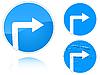 Projekt Warianty w prawo znak drogowy | Stock Vector Graphics