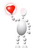 Человек с красным сердцем | Векторный клипарт
