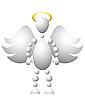 Człowiek jako święty anioł ze skrzydłami i Złoty nimbus | Stock Vector Graphics