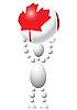Mann trägt Ball mit kanadischer Flagge