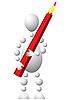 Człowiek z czerwonym ołówkiem | Stock Vector Graphics