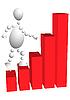 Человек поднимается по лестнице-диаграмме | Векторный клипарт