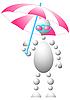 Человек в розовых солнечных очках с зонтиком | Векторный клипарт