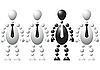 Черный человек и три белых | Векторный клипарт