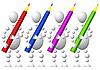 Gruppe von vier Menschen mit Farbstiften
