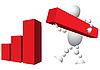 Человек строит диаграмму из красных блоков | Векторный клипарт