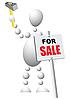 Человек монтирует знак распродажи | Векторный клипарт