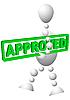 Человек несет зеленый баннер текстом Approved | Векторный клипарт