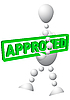 Man trägt ein grünes Panel mit Text - Approved | Stock Vektrografik