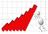 Человек поддерживает красную диаграмму | Векторный клипарт