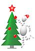 Человек украшает новогоднюю елку | Векторный клипарт