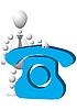 Человек с синим символом телефона | Векторный клипарт