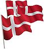 덴마크 3D 플래그의 왕국. | Stock Vector Graphics
