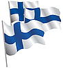 Финляндия 3d флаг. | Векторный клипарт