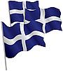 Синий 3d флаг с белым скандинавским крестом | Векторный клипарт