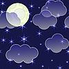 Nacht-Hintergrund mit Wolken und Sterne