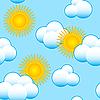 Tle nieba z chmurami i słońcem | Stock Vector Graphics