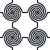 Czarno-białe tło z okręgu wiry | Stock Vector Graphics