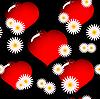 ID 3013378 | Tło z czerwonych serc szkła i kwiatów | Klipart wektorowy | KLIPARTO