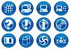 Ikony gadżetów Białym - ciemnej palety niebieskim. | Stock Vector Graphics